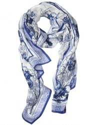 Roberto Cavalli | Blue Submarine Print Silk Chiffon | Lyst