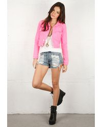 Textile Elizabeth and James | Pink Textile Elizabeth & James® Sid Denim Jacket | Lyst