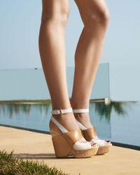 Ash | Brown Colorblock Cork Wedge Sandal | Lyst