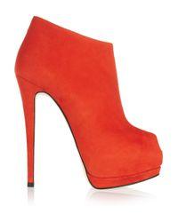 Giuseppe Zanotti | Red Suede Peeptoe Platform Ankle Boots | Lyst