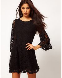 John Zack | Black Lace Swing Babydoll Dress | Lyst