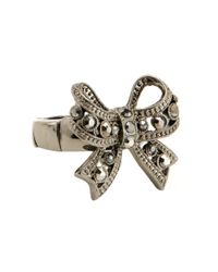 Betsey Johnson | Natural Crystal Bow Stretch Ring | Lyst
