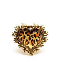 Betsey Johnson | Multicolor Leopard Print Heart Shaped Stretch Ring | Lyst