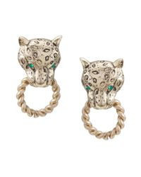 Carolee | Metallic Gold Tone Panther Doorknocker Earrings | Lyst