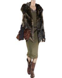 Donna Karan New York | Green Double-layered Jersey and Chiffon Dress | Lyst