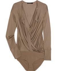 Donna Karan | Brown Convertible Satin-jersey Bodysuit | Lyst