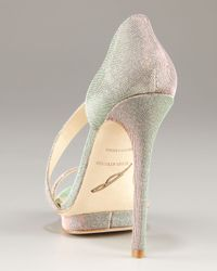 B Brian Atwood - Metallic Consort Open Toe Sparkly Strappy Platform Sandal - Lyst