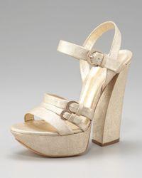 Casadei | Metallic Chunky-heel Platform Sandal | Lyst
