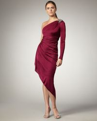 David Meister | Red Asymmetric One-sleeve Dress | Lyst