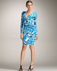 Emilio Pucci | Blue Printed Twist-front Dress | Lyst