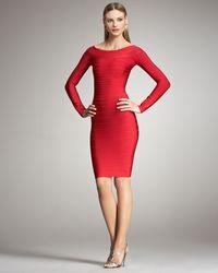 Hervé Léger | Red Long-sleeve Bandage Dress | Lyst