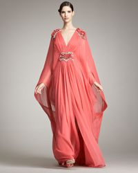 Marchesa - Red Plunging-V Caftan Gown - Lyst