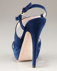 Miu Miu | Blue Strappy Platform Sandal | Lyst