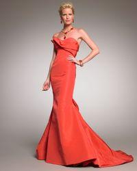 Oscar de la Renta | Orange Strapless Mermaid Gown | Lyst