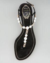 Rene Caovilla - Black Pearl & Chain Thong Sandal - Lyst