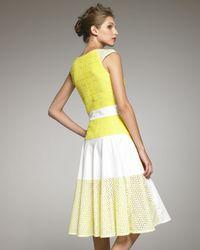 Thakoon   White Cap-sleeve Eyelet Colorblock Dress   Lyst