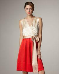 Tory Burch | Red Darya Faille Colorblock Dress | Lyst