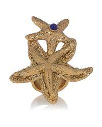 Saint Laurent - Metallic Goldplated Starfish Ring - Lyst
