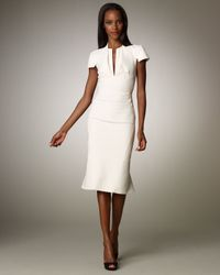 Zac Posen | White Stretch Split V-neck Dress | Lyst