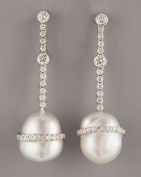 Assael   White Baroque Diamond Earrings   Lyst