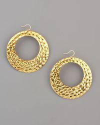 Devon Leigh - Metallic Hammered Gold Hoop Earrings - Lyst