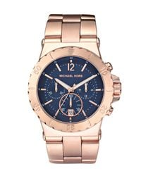 Michael Kors | Metallic Rose Gold Stainless Steel Chronograph Watch | Lyst