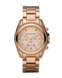 MICHAEL Michael Kors | Metallic Glitz Chronograph Watch | Lyst