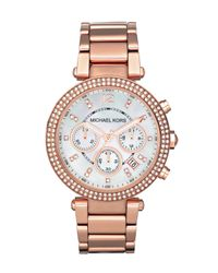 Michael Kors | Pink Mk5491 Women's Parker Chronograph Stainless Steel Bracelet Strap Watch | Lyst