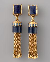 Oscar de la Renta | Metallic Sodalite Tassel Earrings | Lyst