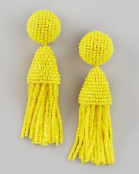 Oscar de la Renta | Beaded Short Tassel Earrings, Yellow | Lyst