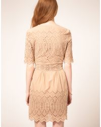 Whistles - Natural Lisa Embroidered Dress Neutral - Lyst