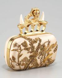 Alexander McQueen | Metallic Embroidered Satin Clutch | Lyst