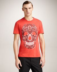 Alexander McQueen | Red Bandana Skull T-shirt for Men | Lyst