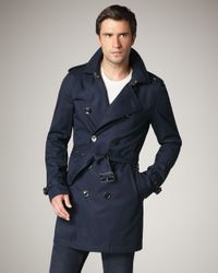 Burberry Brit | Blue Cotton-blend Trenchcoat for Men | Lyst