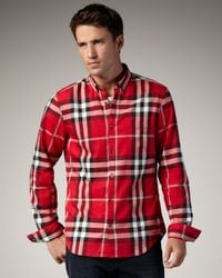Burberry Brit | Red Check Button-down Sport Shirt for Men | Lyst