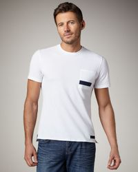 Burberry Sport | White Nylon-stripe Tee for Men | Lyst