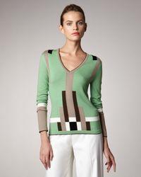 Carolina Herrera   Green Colorblock Sweater   Lyst