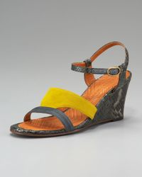 Chie Mihara | Gray Finde Suede and Leather Colorblock Slingback Sandals | Lyst