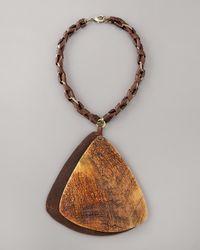 Donna Karan | Metallic Wooden Pendant Necklace | Lyst