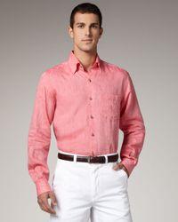 Ermenegildo Zegna - Pink Linen Sport Shirt, Coral for Men - Lyst