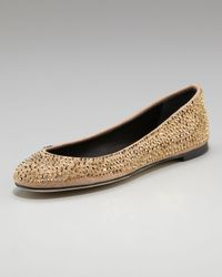 Giuseppe Zanotti | Metallic Crystal-covered Suede Ballerina Flat | Lyst