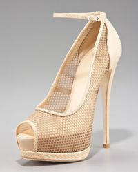 Giuseppe Zanotti | Natural Fishnet Ankle-wrap Platform Pump | Lyst