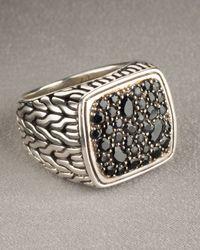 John Hardy | Metallic Black-sapphire Square Ring for Men | Lyst