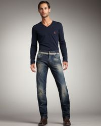 Just Cavalli - Blue Distressed Straight-Leg Jeans for Men - Lyst