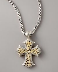 Konstantino | Multicolor Gold Filigree Cross Pendant | Lyst