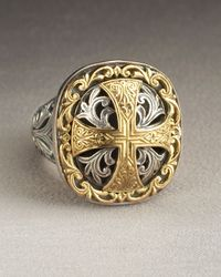 Konstantino - Metallic Square Cross Ring - Lyst