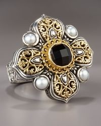 Konstantino | Metallic Onyx & Pearl Cross Ring | Lyst