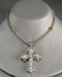 Konstantino | White Pearl Cross Pendant | Lyst