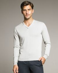 Lanvin | Blue Ribbon-detail V-neck Sweater for Men | Lyst
