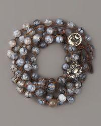 Love Heals | Black Agate Bead & White Bronze Bracelet | Lyst
